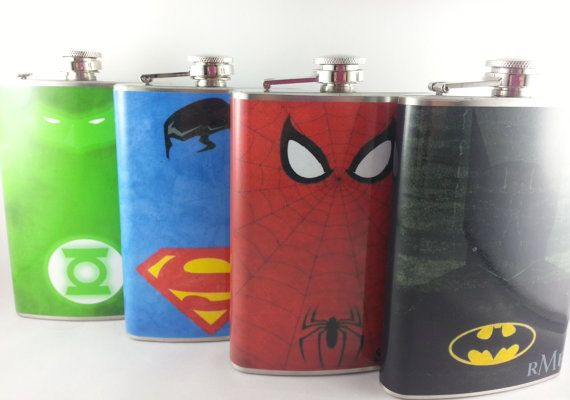 This is by far the most popular thing we've posted. Geeky grooms and Groomsmen are in right now.  Check out our geek chic board for more, and you can find this on esty: https://www.etsy.com/listing/182746584/groomsmen-superhero-flask-set-of-four