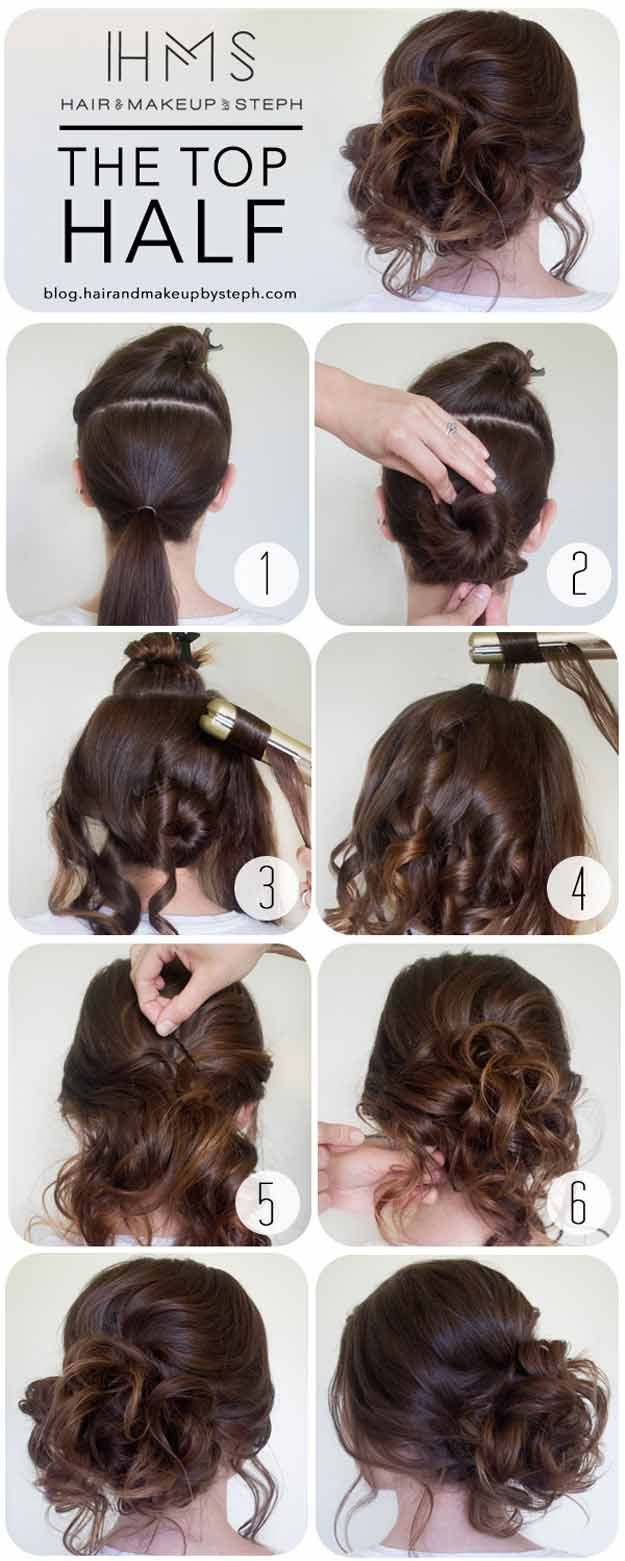 Quick and Easy Hairstyles for Straight Hair - HOW TO THE TOP HALF - Popular Haircuts and Simple Step By Step Tutorials and Ideas for Half Up, Short Bobs, Long Hair, Medium Lengths Hair, Braids, Pony Tails, Messy Buns, And Ideas For Tools Like Flat Irons and Bobby Pins. These Work For Blondes, Brunettes, Twists, and Beachy Waves - https://thegoddess.com/easy-hairstyles-straight-hair