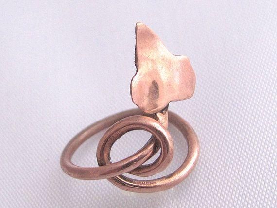 Anello foglia anello rame anello edera anello di ArteNascosta