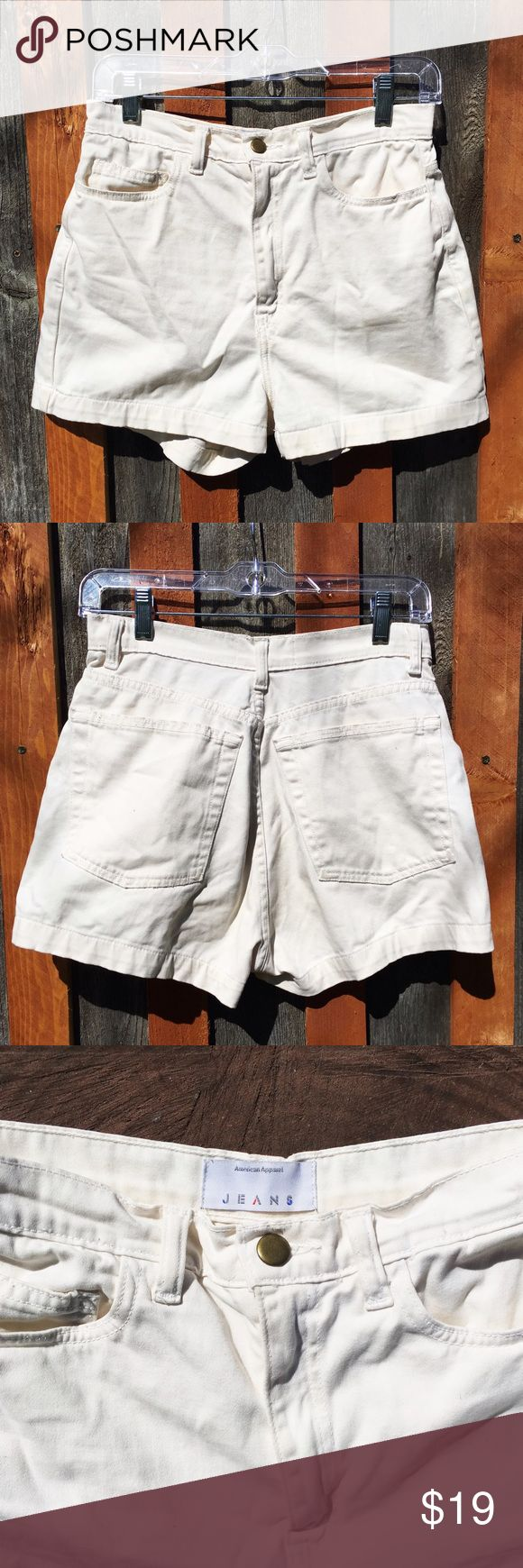 American Apparel High waist shorts 90's American Apparel High rise jean shorts in an Off-white color. Size 29.  Great fit, not too stiff like most AA shorts.  Perfect for spring or summer beach weather 🌴🌊 Message me if you have any other sizing questions   #americanapparel #vintage #90s #shorts #highrise #denim #white #summer #sale #jeans American Apparel Shorts Jean Shorts