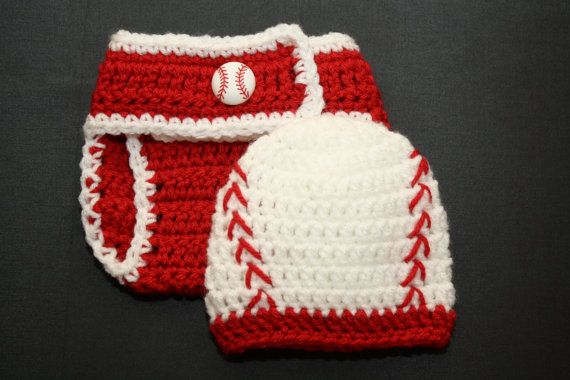 Newborn Boy Baseball Hat and Diaper Cover
