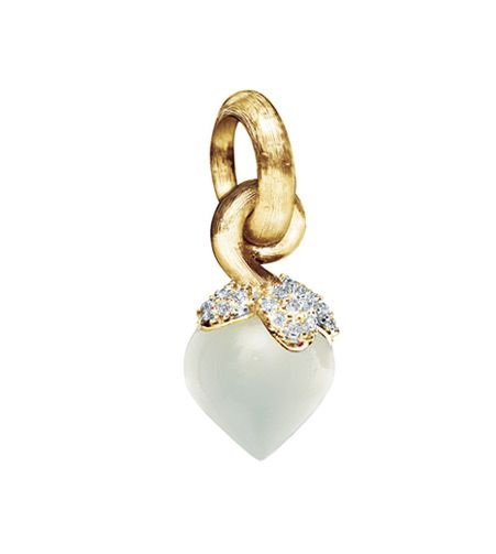 Ole Lynggaard Copenhagen Dew Drop charm (small) White Moonstone faceted and diamonds = 0.13ct pave set in 18ct yellow gold - Kennedy Jewellers