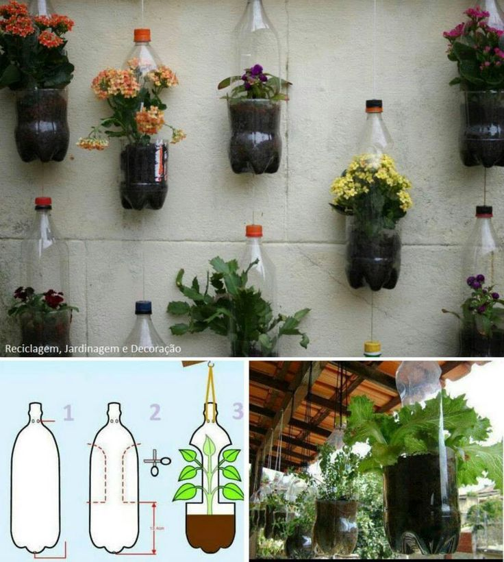 Recycled plastic bottle planter vertical gardener inspiration +++ Reciclaje botellas plastico como macetas jardin colgante pared patio terraza