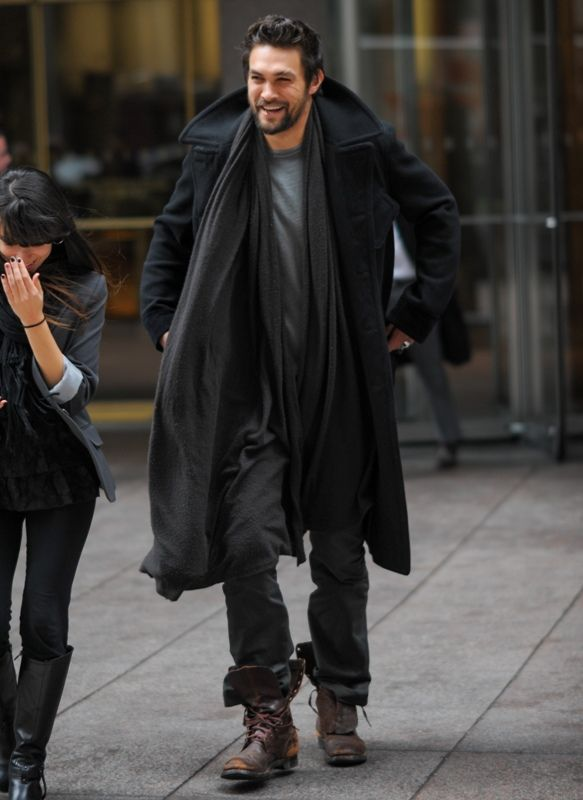 Jason Momoa in NYC. Love the black coat & combat boots.