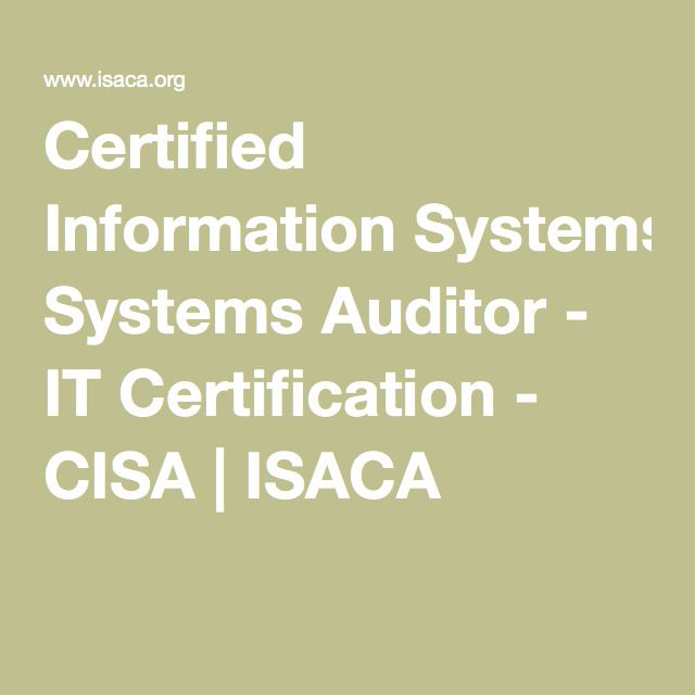 Certified Information Systems Auditor - IT Certification - CISA | ISACA