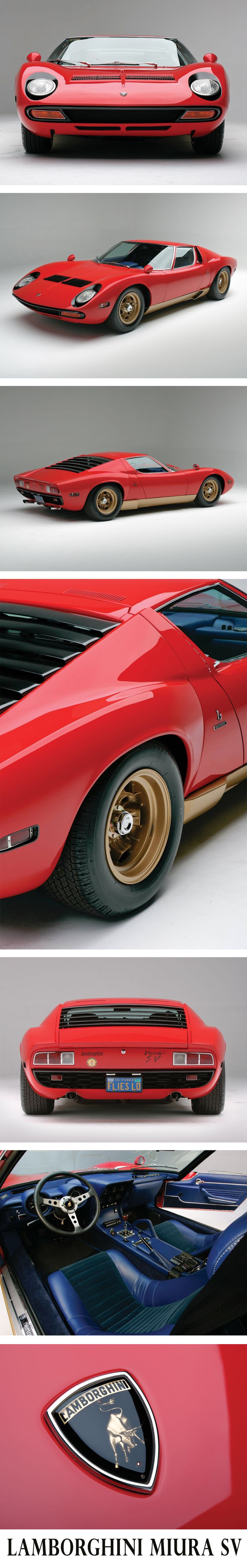 Lamborghini Miura SV - 1971 - 4.0 L, V12, 385 hp, mid-engine. Miura is a Spanish cow breed, SV is for Super Fast (Super Veloce). It is indicated as the starter of extreme performance cars trend. Built in 764 units, its current value can be priced up to 3,000,000 USD. Design by Bertone. Tarmac dominator, gorgeous style, rampage genesis. #Lamborghini #miura #aventador #red #luxurycars