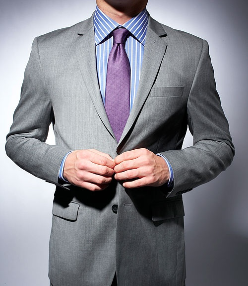 L: Grey Suits, Ideas Gray Suits, Blue Shirts, Gray Suits Purple Bridesmaid, Stripes Shirts, Parties Ideas, Purple Ties, Interview Dress, Blue And White