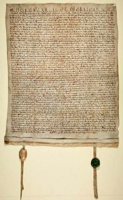 Magna Charta.  Signed during King John's reign because of baronial opposition to his endless taxes trying to recover his fathers holdings in France (he never did).   This is considered by many to be the beginning of  English common law, upon which the American Judicial System was based (and still referred to in court).