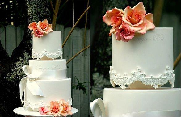 античный кружева свадебный торт на Sugarpot