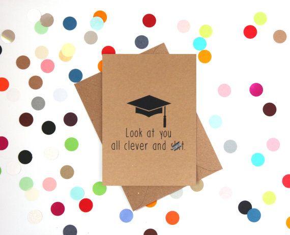 Grappige afstuderen Card, grappige college card, Funnc kaart, Gradutation kaart: kijken je allemaal slimme en sh! t