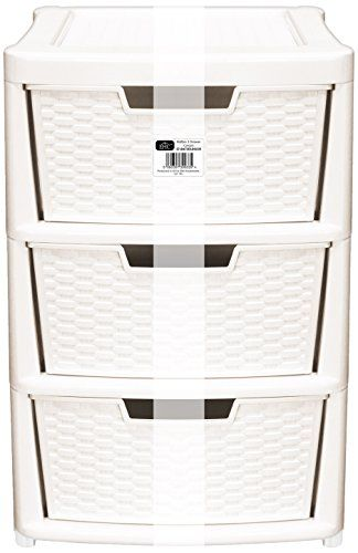 From 21.99:Ehc Large 3-drawer Tower Rattan Style Plastic Storage Unit Cream