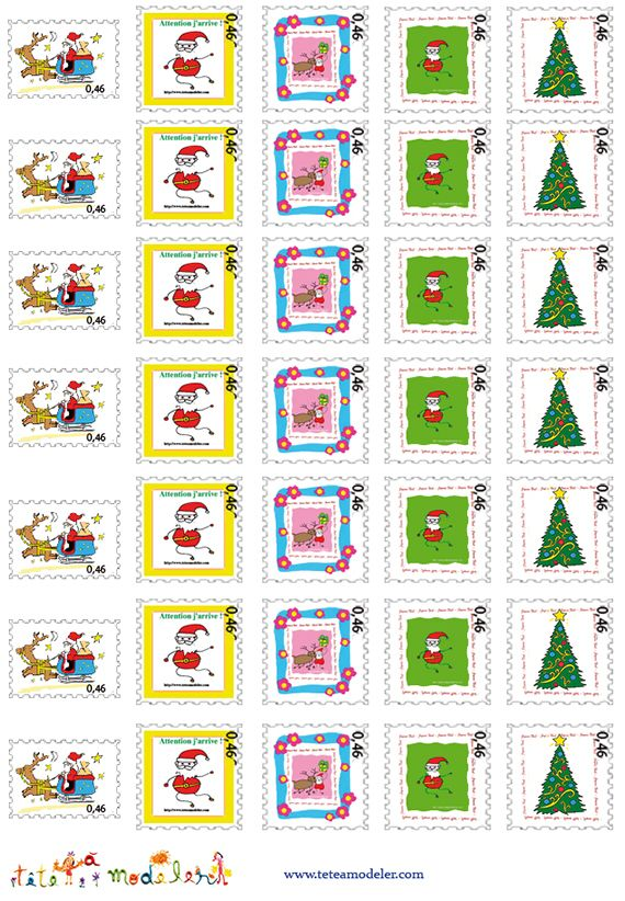 Planche de faux timbres Pere Noel a imprimer - Noel Tete a modeler