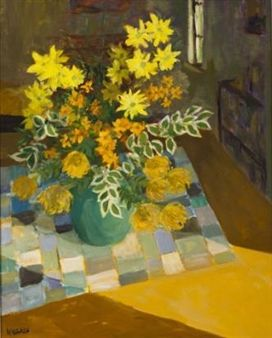 FLOWERS IN A VASE ON A CHEQUERED CLOTH By Marjorie Wallace