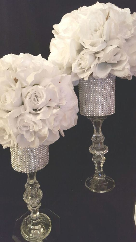 * DIY - using $ Store candle holders glued on top of each other at the candleholder part, then glue a glass cylinder on top. Take Rhinestone-like fabric (Jo-Ann's?) onto appropriate connections and around top of cylinder - then add your favorite real or artificial flowers for a spectacular party or wedding centerpiece/display, etc. - RGS - 2016                                 found on Ebay listing - US $37.98 New in Home & Garden, Wedding Supplies, Centerpieces & Table Decor