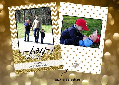 Holiday Christmas Photo Cards Add Photo(s) Any Colors Gold on Gold