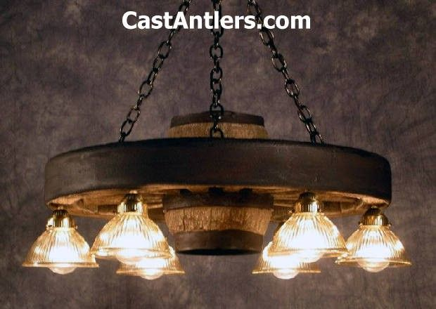 "Wagon Wheel Chandeliers - 30"" Downlight Reproduction/Cast Wagon Wheel Chandelier 