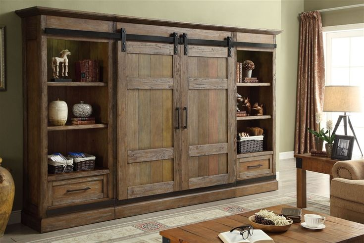 Hunts Point 4 Piece Sliding Door Entertainment Wall in Weathered Pine Finish by Parker House – HPT-1063-4