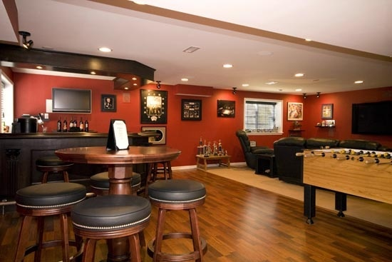 Sports bar in the basement cool home ideas pinterest Man cave ideas unfinished basement