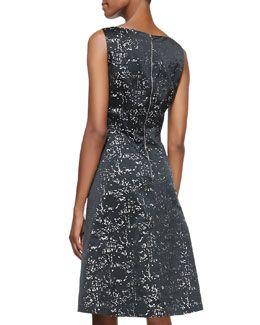 T8GL5 Kalinka Sleeveless Metallic & Black Taffeta A-Line Cocktail Dress