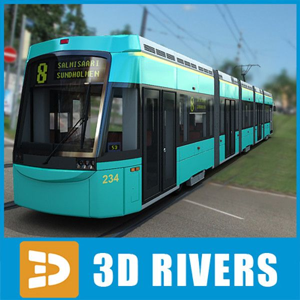 Contemporary Helsinki Tram Tramways 3D 3Ds - 3D Model
