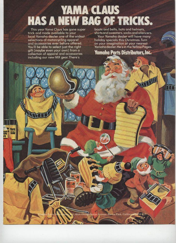 "1973 Yama Claus Yamaha Parts Distributors Santa Christmas Magazine Ad """
