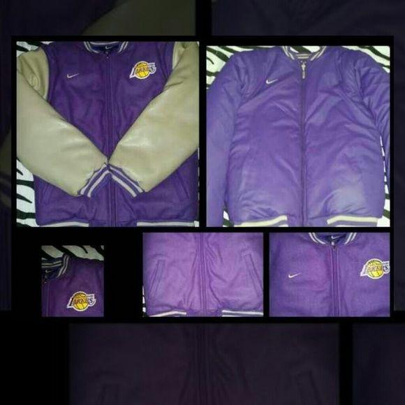 NIKE Mens LAKERS Jacket Medium Great condition varsity letter men style. Reversible. Nike Jackets & Coats