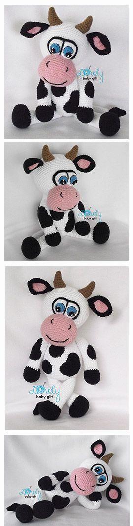 Cow amigurumi pattern, häkelanleitung, haakpatroon, hæklet mønster, modèle crochet