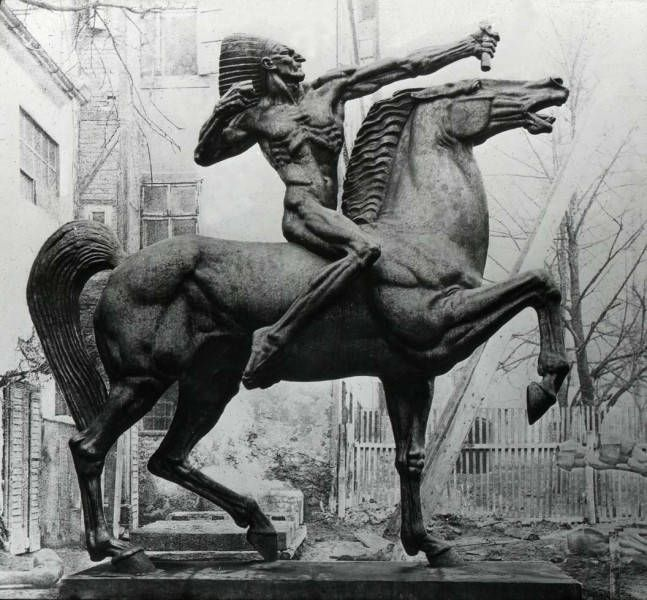 The Bowman of The Bowman and The Spearman at an off-site location before installation in Congress Plaza at Congress and Michigan. These weaponless statues serve as the gatekeepers to Grant Park. They were sculpted by Ivan Meštrović in 1928.