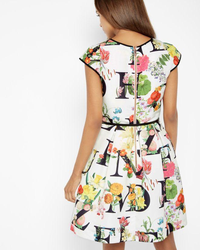 Цветочный AZ фигурист платье - цвета слоновой кости | Платья | Ted Baker UK