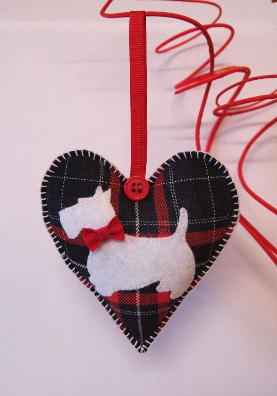 Valentine Heart Scottish Terriers. Tartan, red-white-black, felt, buttons. Two-sided. on Etsy, $12.00