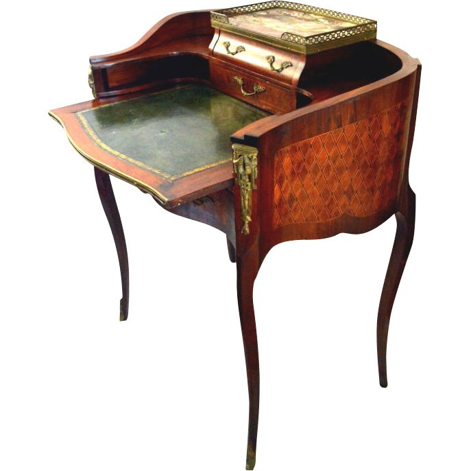 French ladies writing desk with ormolu and parquet
