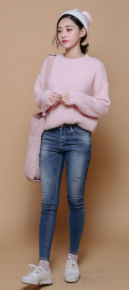Finest Asian Fashion Store Korean fashion fuzzy comfy outfit pink cute pretty feminine