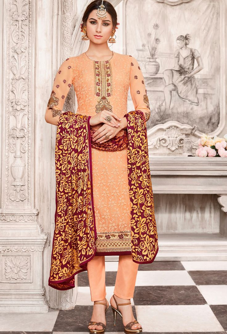Semi #Stitched Light #Orange #Georgette #Pakistani #Suit #nikvik  #usa #designer #australia #canada #freeshipping #fashion #dress #suits #sale