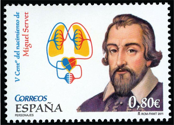 2011 Spanish stamp honoring the 500th anniversary of the birth of Miguel Servet (https://pinterest.com/pin/287386019946934809), first European to describe the function of the pulmonary circulation. Image courtesy of Stanford T. Shulman, MD. Reprinted with permission.