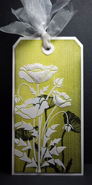 handmade tag from Eileen's Crafty Zone: Sweet Poppy Stencils ...luv this clean and fresh look ... white tag base ... chartreuse layer ... black silhouette stamping ... white stenciled image using embossing paste ... elegant and beautiful ...