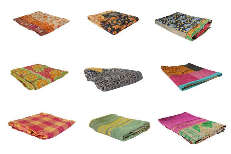 Indiase khanta quilts, gemaakt van vintage sari's. Ieder exemplaar is uniek!