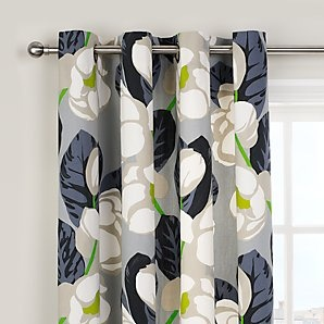 Designers Guild Flamingo Park Lined Eyelet Curtains, Grey, Pair