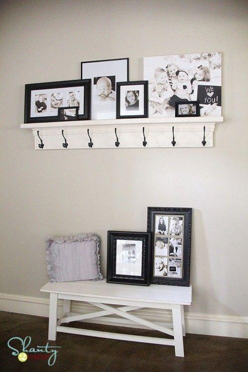 DIY shelf and coat hooks.