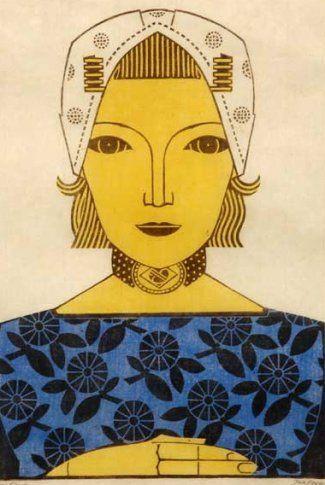J. Heyse (1882-1954)  -  Zeeuws Meisje  -  Linosnede  -  30 x 20 cm  -  Gesigneerd  -  VERKOCHT