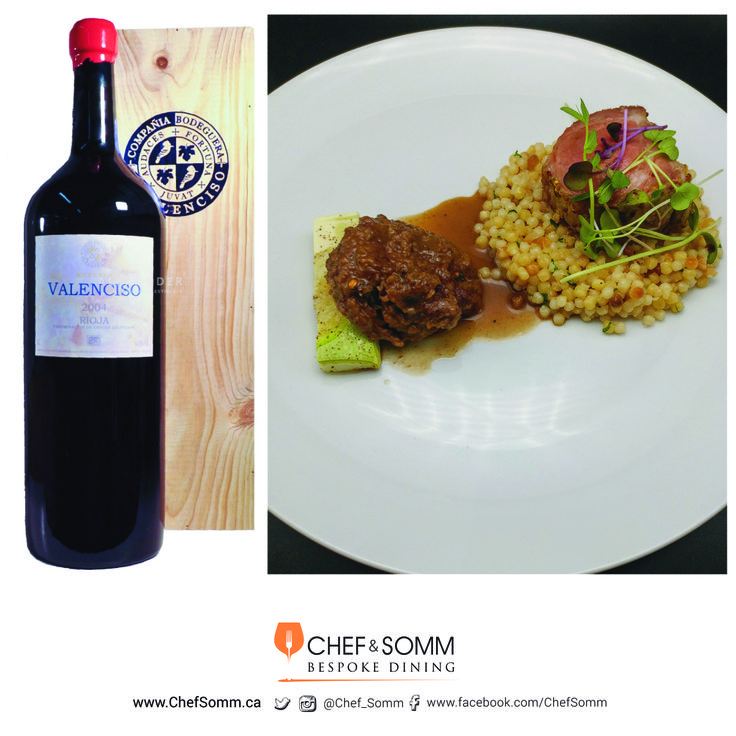 Chef @Eyal Liebman's 'Butt to Cheek' – Roasted Pork Butt and Braised Beef Cheek with Oven-roasted marrow squash and Israeli Couscous with Sugar Plum, paired with @Valensico Reserva, Rioja, Spain 2004. (Mellecy Wine Group) More about this pairing on our FB & IG pages