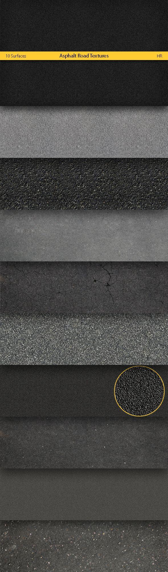 Asphalt Road Textures - cesta se bude linout po celé délce, pokud se nám nepodaři sehnat lino  v podobné struktuře, můžeme pužít černý malý štěrk a bílým sprejem nastříkat pruhy jako na cestě