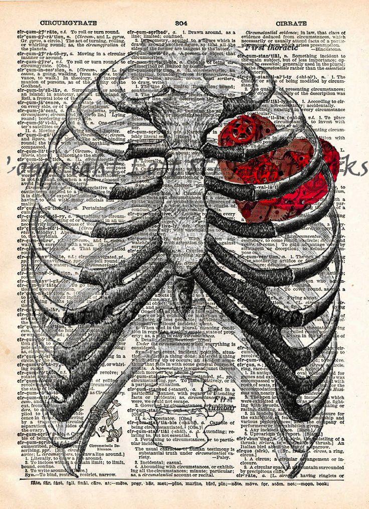 Steampunk clockwork heart, vintage anatomy ribcage, dictionary page book art…