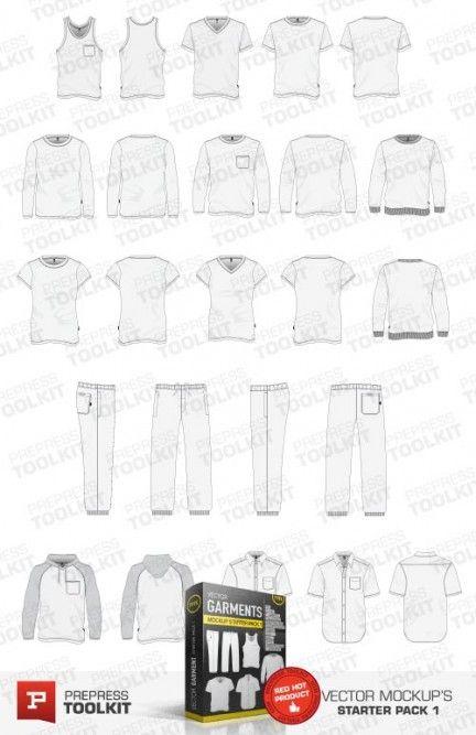 Vector t-shirt polo shirt hood jumper mockup templates