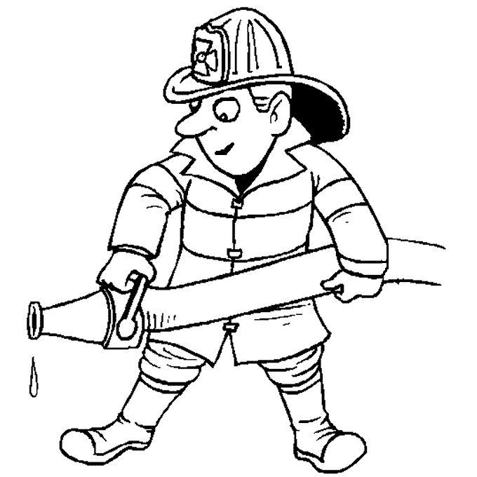 Fire fighter coloring in page. | Professions Theme ...