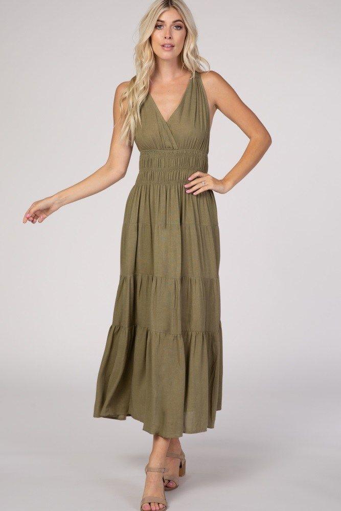 Olive Green Boho Dress