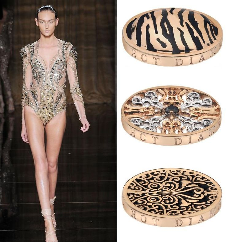 Julien Macdonald let us know that gold was back on the runway with dramatic gold bodysuits and dresses. Want to add some gold to your wardrobe? Emozioni are launching a Rose Gold coin range, including the (top to bottom) Tiger, Victorian Silver and Rose Gold and Victorian Ornate coins. Their classic designs make them timeless, regardless of season. (Runway photography by www.catwalking.com)