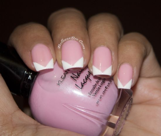 """A French """"V"""" #manicure using @Klean Color #nailpolish http://www.bellezzabee.com/2013/06/bridal-bling-v-french-manicure.html #nailbloggers"""