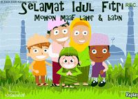 kartu ucapan idul fitri animasi kartun keluarga bergerak