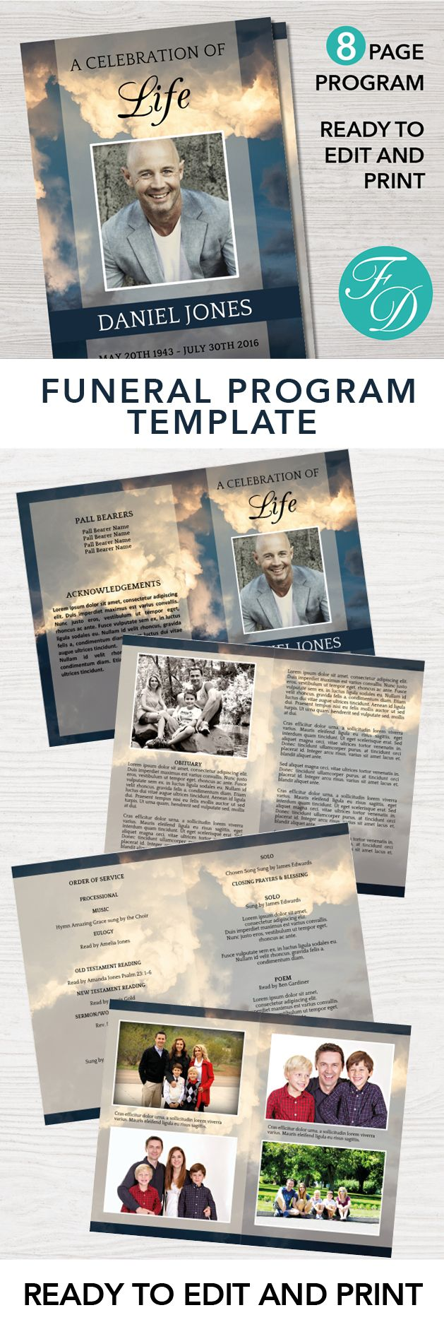 Sky Printable Funeral program ready to edit & print Simply purchase your funeral templates, download, edit with Microsoft Word and print. #obituarytemplate #memorialprogram #funeralprograms #funeraltemplate #printableprogram #celebrationoflife