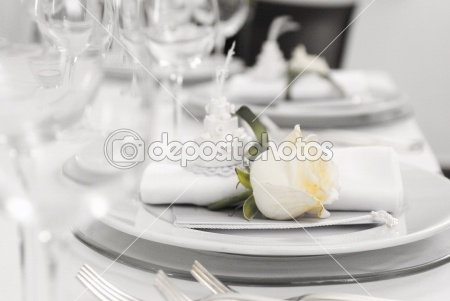 Wedding Table - white wedding table, silverware, silver, setting, service, serving, romantic, romanticism, restaurant, reception, plate, party, towel, food, wedding, luxury dining, knife, indoor, glass, fork, knife, fork, food, flowers, flower, fine dining, fine, event, elegant, drink, dinner, dine, decorations, cutlery, tablecloth, chair, celebration, catering, flowers, banquet